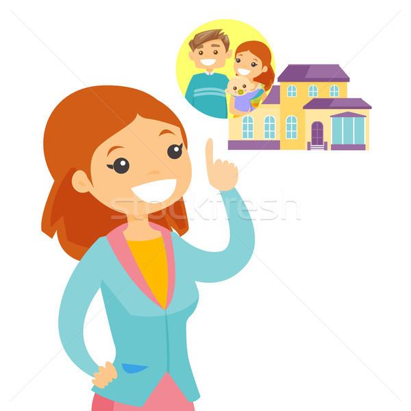 Kobieta planowania zakup rodziny domu młodych Zdjęcia stock © RAStudio
