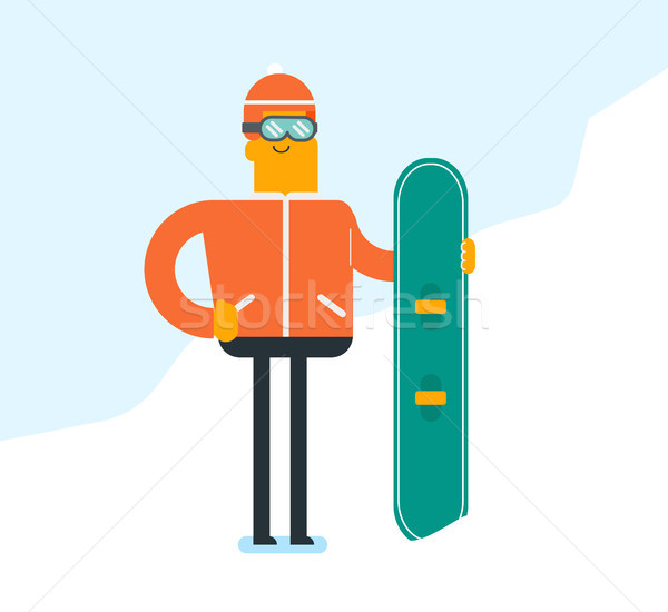Young caucasian white man with a snowboard. Stock photo © RAStudio