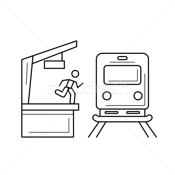 Stazione ferroviaria line icona vettore isolato bianco Foto d'archivio © RAStudio