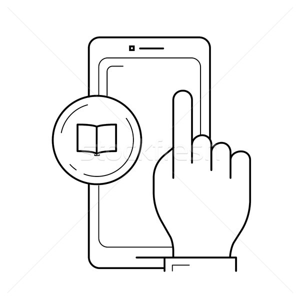 Phone touchscreen vector line icon. Stock photo © RAStudio