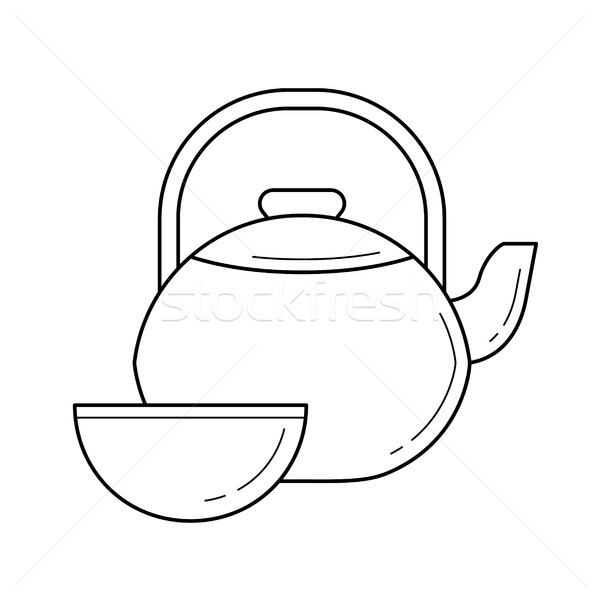 Tea ceremony vector line icon. Stock photo © RAStudio