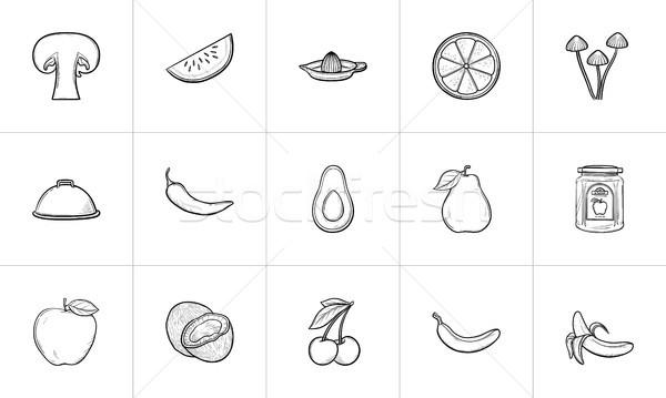 Gezonde voeding schets schets doodle Stockfoto © RAStudio