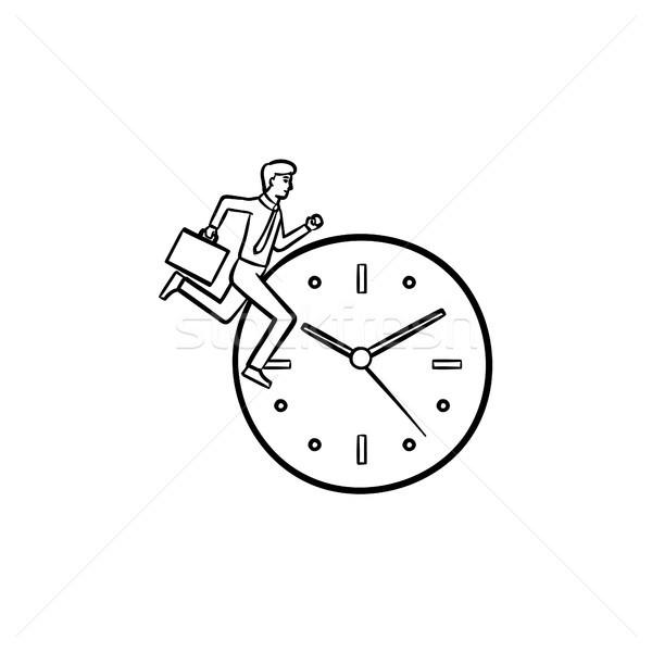 óra fut kézzel rajzolt rajz ikon profil Stock fotó © RAStudio