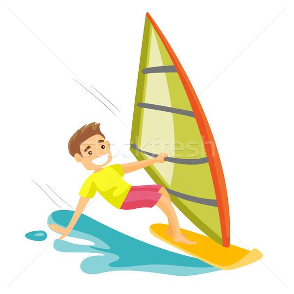White man rushing on a windsurfing board. Stock photo © RAStudio