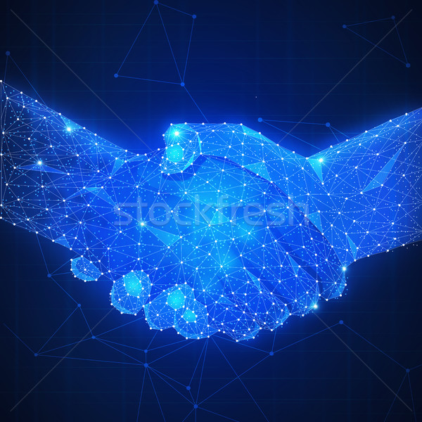 Two hands handshake polygonal low poly smart contract agreement Stock photo © RAStudio