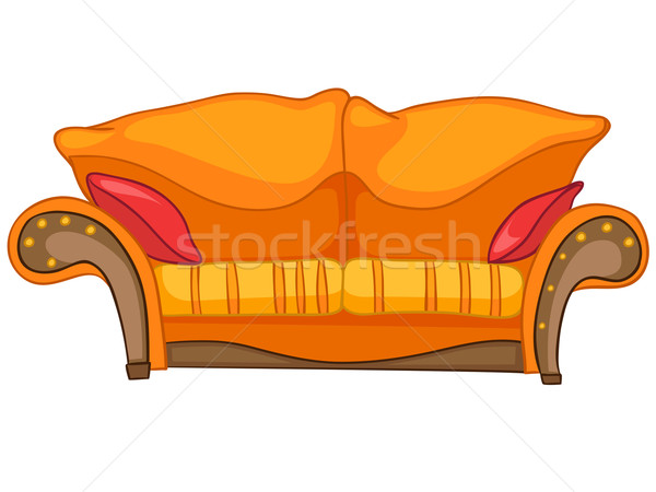 Stok fotoğraf: Karikatür · ev · mobilya · kanepe · yalıtılmış · beyaz