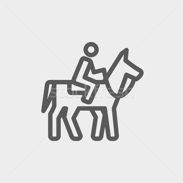 Stockfoto: Paardrijden · dun · lijn · icon · web · mobiele