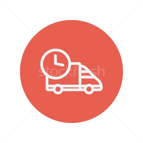 Idő furgon vékony vonal ikon kisteherautó Stock fotó © RAStudio