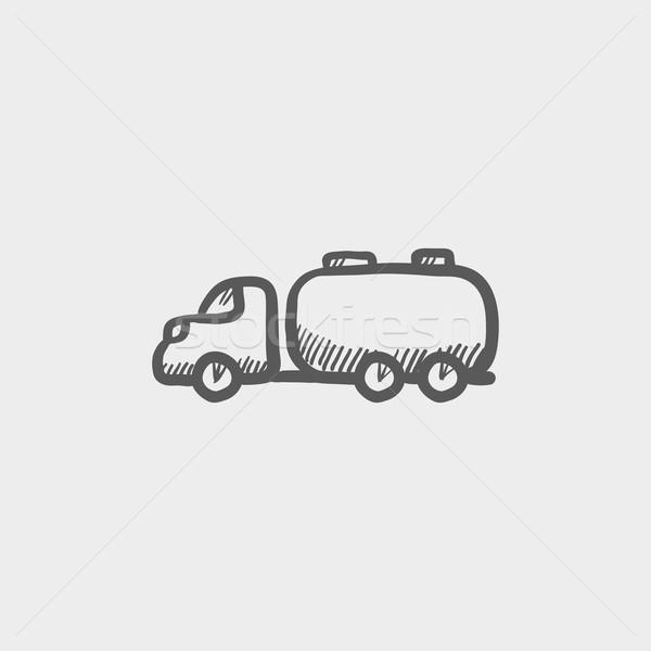Zdjęcia stock: Ciężarówka · płynnych · ładunku · szkic · ikona · internetowych