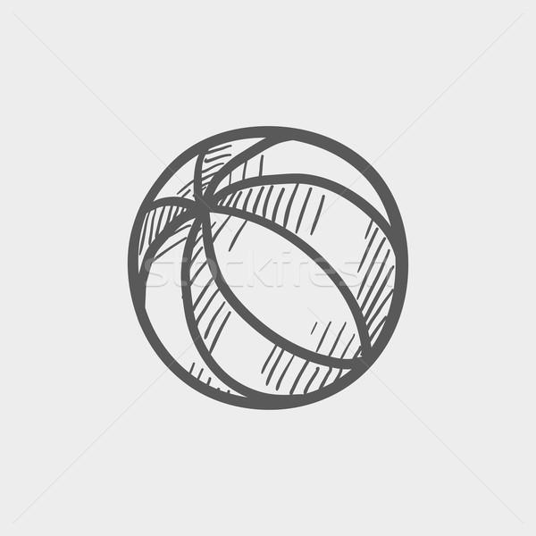 Ballon de plage croquis icône web mobiles dessinés à la main Photo stock © RAStudio