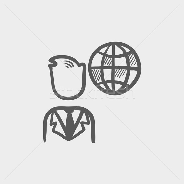 Businessman with global sketch icon Stock photo © RAStudio