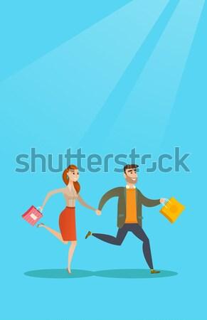 üzlet verseny kettő boldog üzletemberek fut Stock fotó © RAStudio