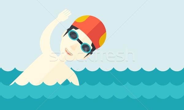 Nuotatore formazione piscina asian indossare cap Foto d'archivio © RAStudio