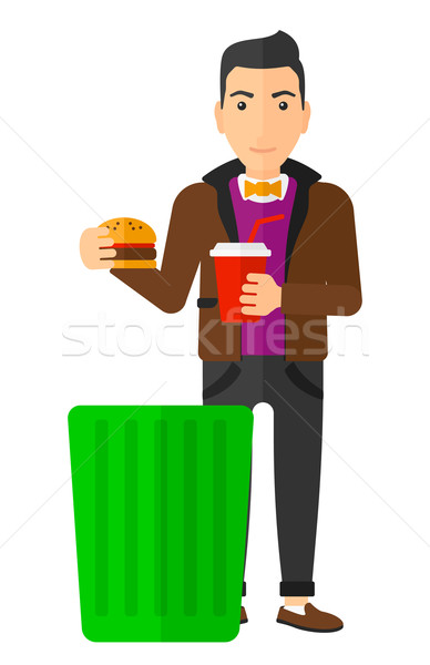 Mann ungesundes Essen Papierkorb Vektor Stock foto © RAStudio