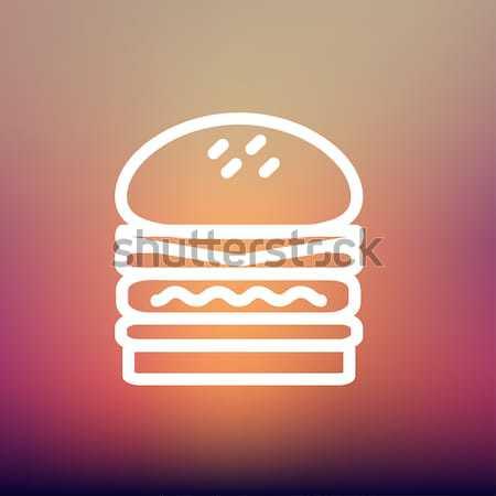 удвоится Burger линия икона веб мобильных Сток-фото © RAStudio