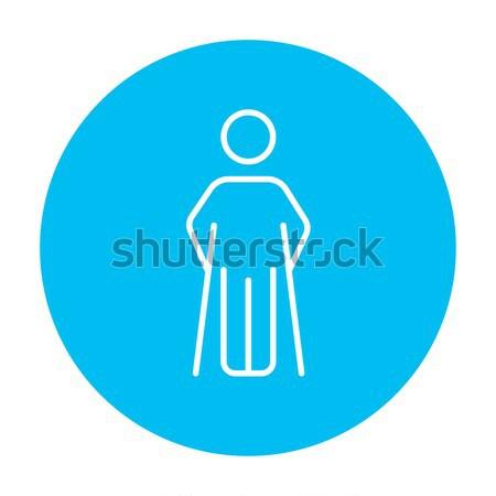 Homem muletas linha ícone teia móvel Foto stock © RAStudio