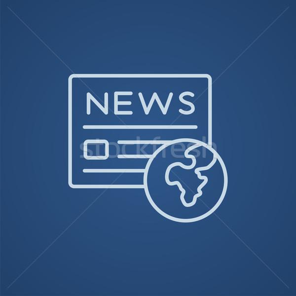 Foto stock: Internacional · periódico · línea · icono · web · móviles
