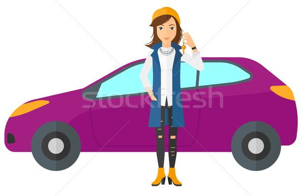 женщину ключевые Новый автомобиль Постоянный вектора Сток-фото © RAStudio