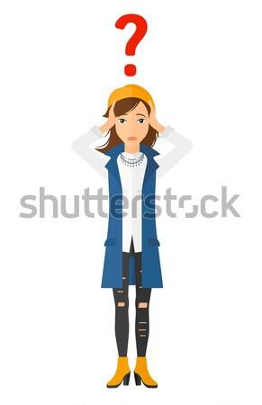 Cabeça confuso mulher grande ponto de interrogação Foto stock © RAStudio