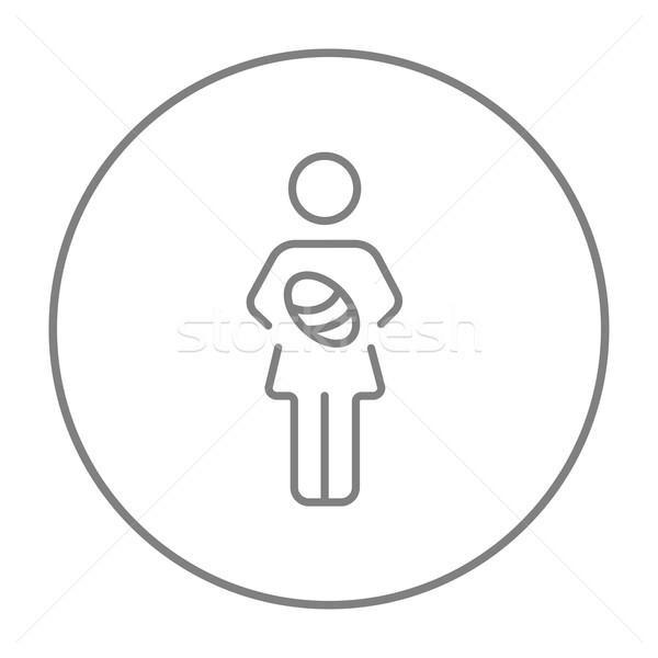 Woman holding baby line icon. Stock photo © RAStudio
