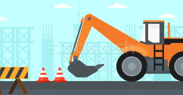 Kotrógép építkezés forgalom vektor terv illusztráció Stock fotó © RAStudio