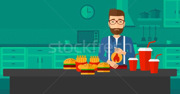 Man lijden maagzuur baard permanente Stockfoto © RAStudio
