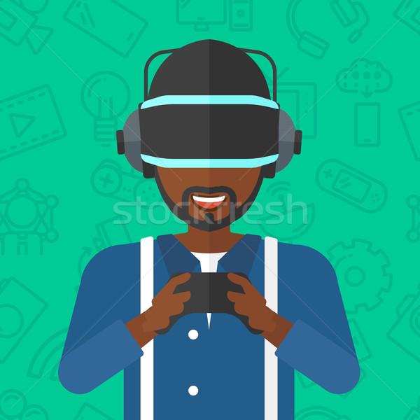 Stockfoto: Man · virtueel · realiteit · hoofdtelefoon