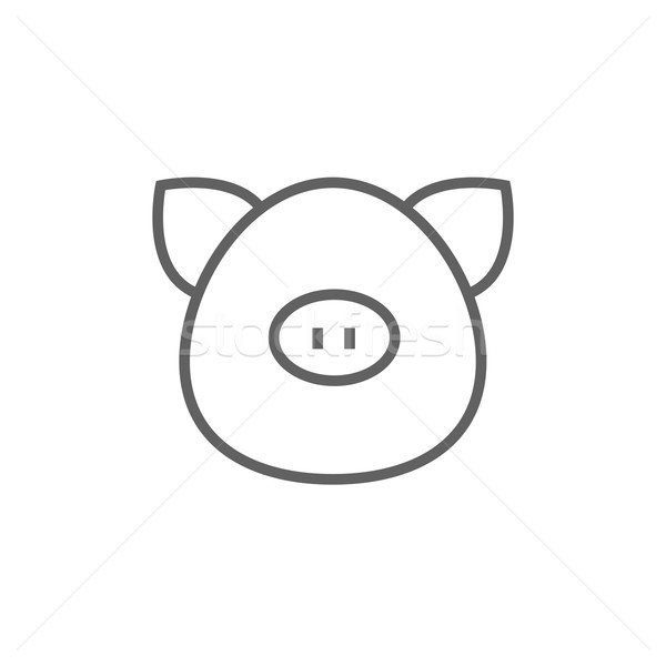 Pig head line icon. Stock photo © RAStudio