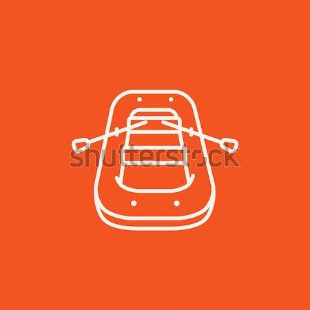 Inflatable boat line icon. Stock photo © RAStudio
