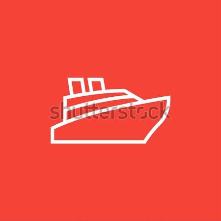 Navio de cruzeiro linha ícone teia móvel Foto stock © RAStudio