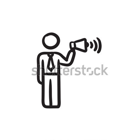 Man with soundwaves. Drawn in chalk icon. Stock photo © RAStudio