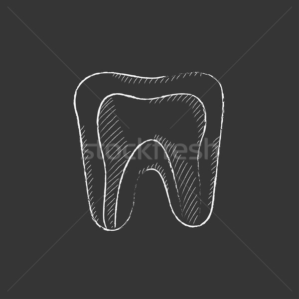 Molar tooth. Drawn in chalk icon. Stock photo © RAStudio