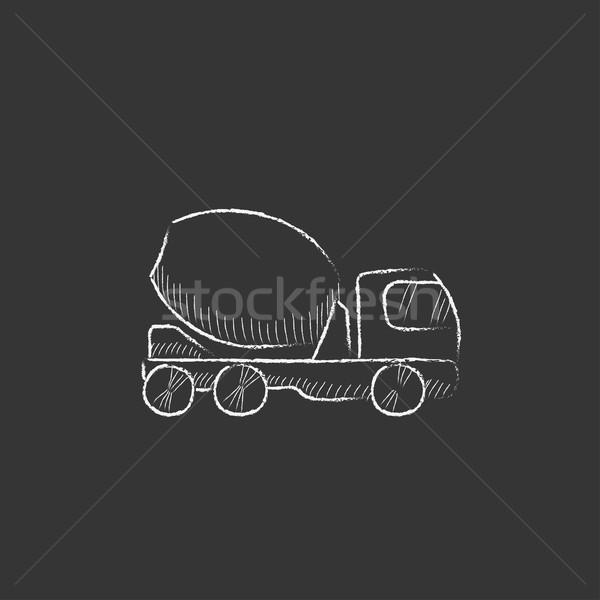 Konkretnych miksera ciężarówka kredy ikona Zdjęcia stock © RAStudio