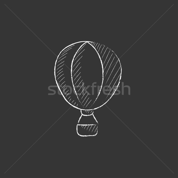 Hot air balloon. Drawn in chalk icon. Stock photo © RAStudio