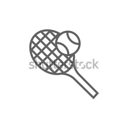 Tenis raketi top hat ikon köşeler web Stok fotoğraf © RAStudio