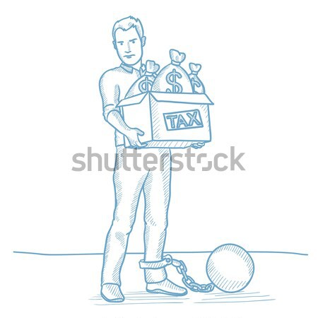 Chained man with bags full of taxes.  Stock photo © RAStudio