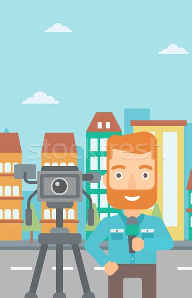 Tv verslaggever werken camera baard Stockfoto © RAStudio