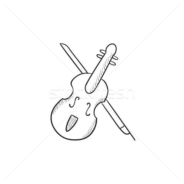 Violin with bow sketch icon. Stock photo © RAStudio