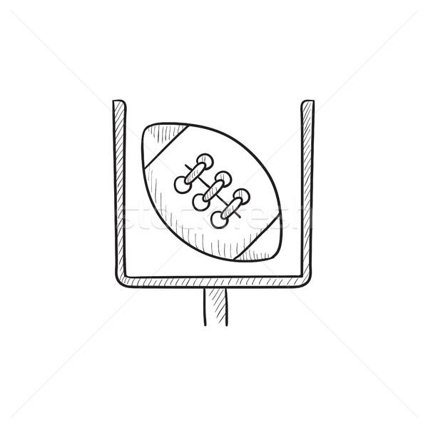 ворот мяча регби эскиз икона вектора Сток-фото © RAStudio