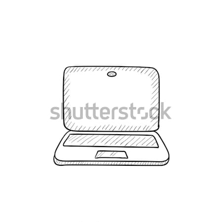 Laptop with cursor sketch icon. Stock photo © RAStudio
