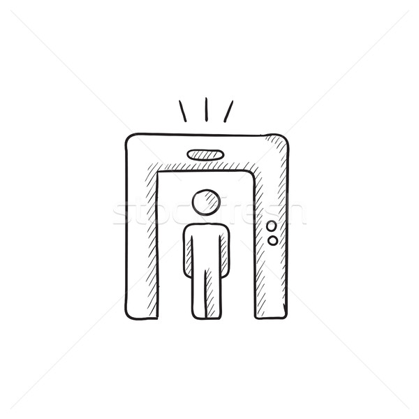 Stock photo: Man going through metal detector gate sketch icon.