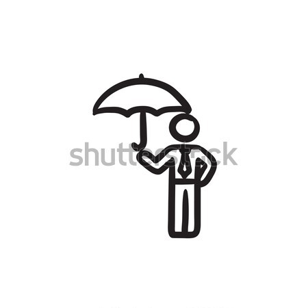 бизнесмен зонтик эскиз икона вектора изолированный Сток-фото © RAStudio