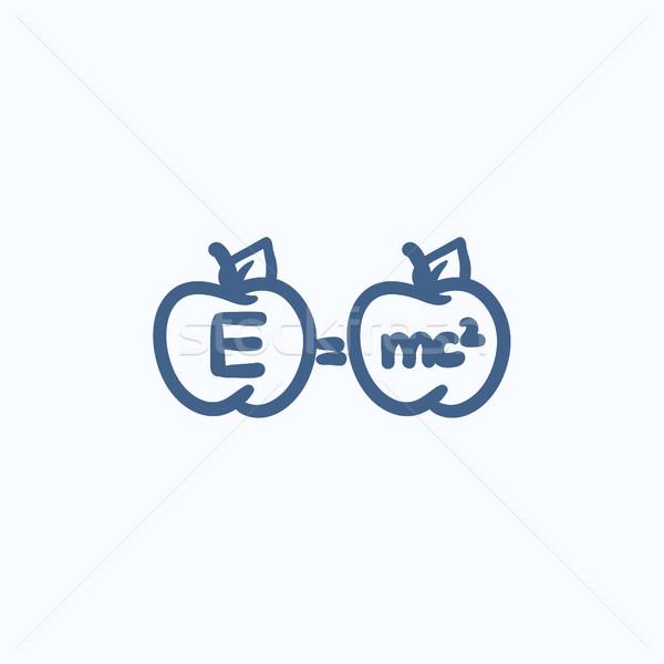 Two apples with formulae sketch icon. Stock photo © RAStudio