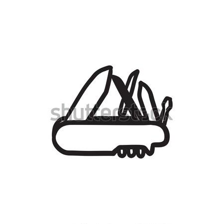 Multipurpose knife sketch icon. Stock photo © RAStudio