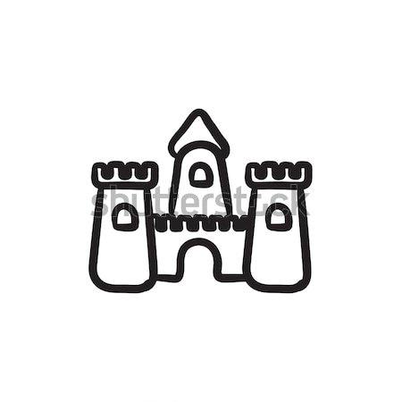 двухуровневый стробирующий импульс эскиз икона вектора изолированный рисованной Сток-фото © RAStudio