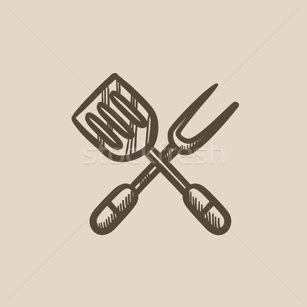 Cocina espátula grande tenedor boceto icono Foto stock © RAStudio