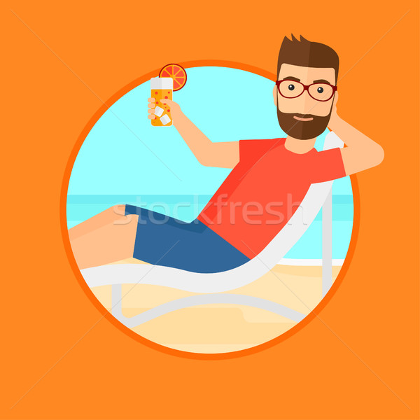 Man relaxing on beach chair. Stock photo © RAStudio
