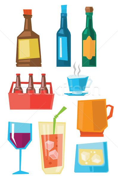 Gafas botellas bebidas alcohol Foto stock © RAStudio