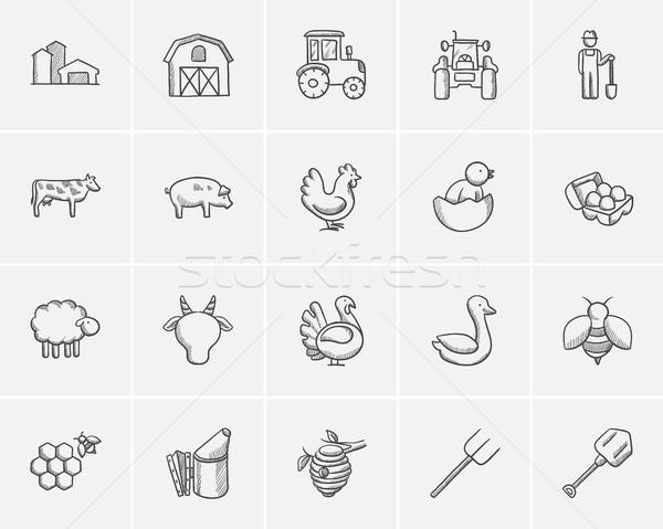 Agriculture sketch icon set. Stock photo © RAStudio