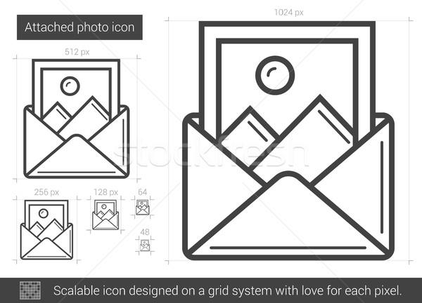 Csatolva fotó vonal ikon vektor izolált Stock fotó © RAStudio